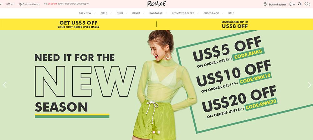 romwe tienda online china